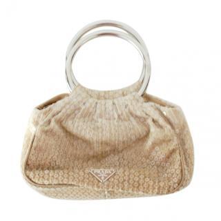 Prada Beige Ombre Sequin Top Handle Bag