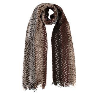 Missoni Brown Zig-Zag Crochet Knit Scarf
