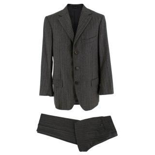 Ermenegildo Zegna Wool Grey Striped Single Breasted Suit