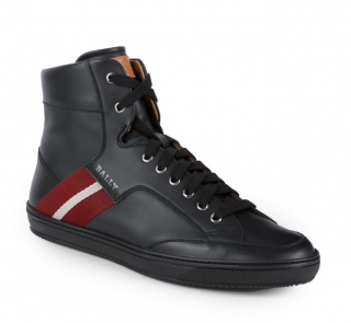 Bally Side Stripe Mix Media Leather High-top Sneakers In Black