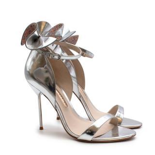 Sophia Webster Silver Leather Crystal Embellished Heels