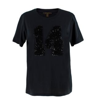 Louis Vuitton Black Cotton 'Paris' 14 Sequin Embellished T-shirt