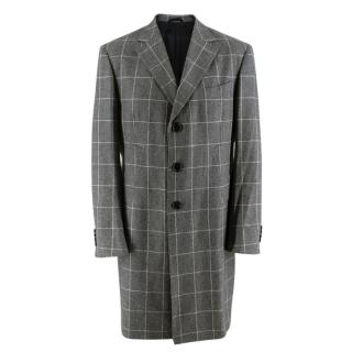 Hilditch & Key Grey Checkered Wool Coat