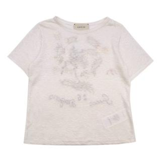 Gucci White Linen Dragon Embroidered T-Shirt