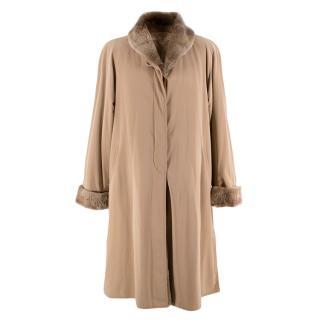 Jobis Beige Fur Inner-Lined Longline Coat