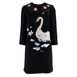 Dolce & Gabbana Black Swan Embroidered Shift Dress