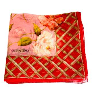 Valentino Red & Pink Floral Print Scarf