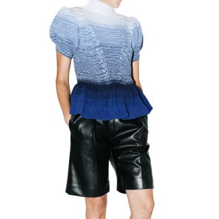 Self Portrait Blue Ombre Short Sleeve Knit