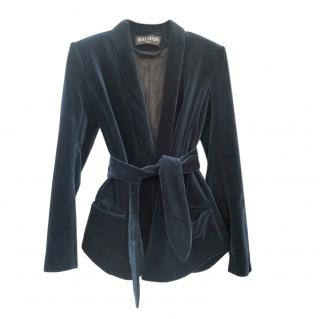 Balmain Blue Velvet Shawl Lapel Jacket