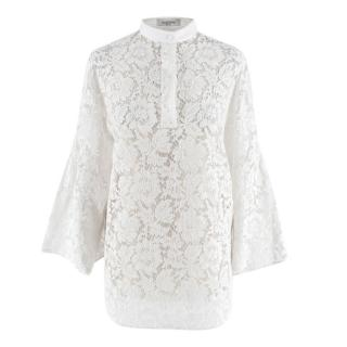 Valentino White Lace Cotton Blend Blouse