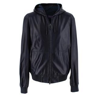 Ralph Lauren Purple Label Navy Leather Hooded Jacket