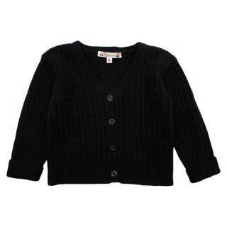 Bonpoint Dark Grey Knitted Cotton Cardigan