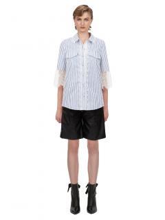 Self Portrait Blue & white Stripe Lace Trim Shirt