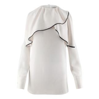 Valentino White Silk Ruffle Neck Cold Shoulder Blouse