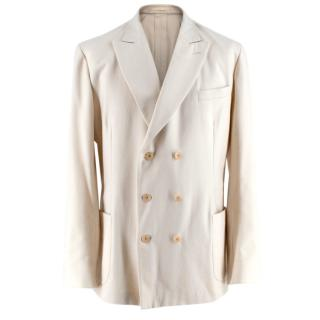 New & Lingwood Ivory Wool Double Breasted Blazer