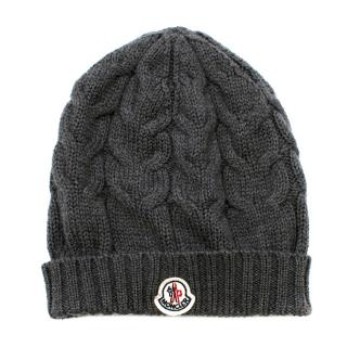 Moncler Dark Grey Cable Knit Wool Beanie