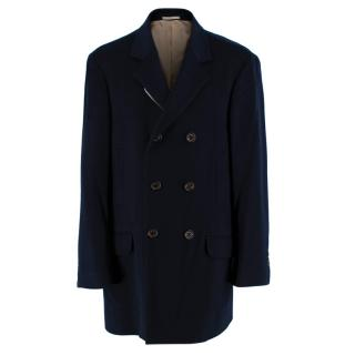 Brunello Cucinelli Navy Cashmere Double Breasted Coat