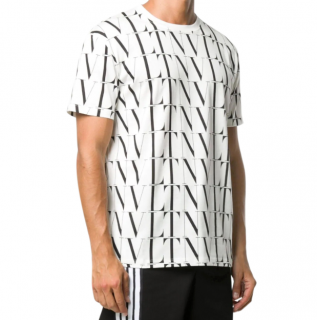 Valentino VLT All over logo Black & White Cotton T-shirt