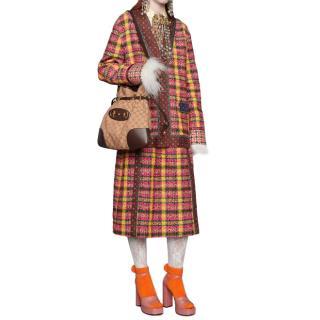 Gucci Yellow & Pink Tweed Wool Blend Midi Skirt