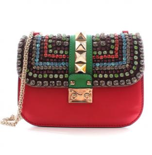 Valentino Red Leather Crystal Embellished Rockstud Lock Bag