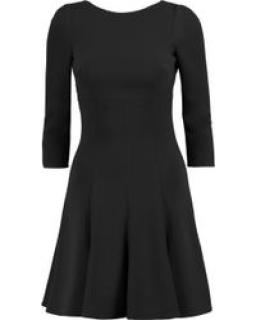 Dolce & Gabbana Black Wool Crepe Lace Trimmed Skater Dress
