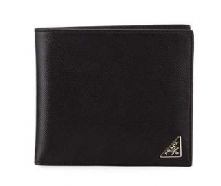 Prada Saffiano Leather Black Triangle Logo Wallet