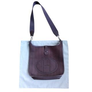 Hermes Brown Canvas & Leather Evelyne Bag