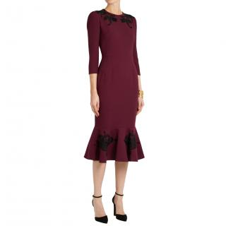 Dolce & Gabbana Purple Wool Black Embroidered Crepe Dress