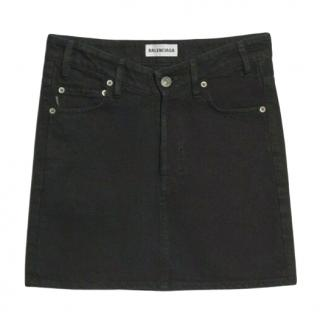 Balenciaga Black A-Line Denim Skirt