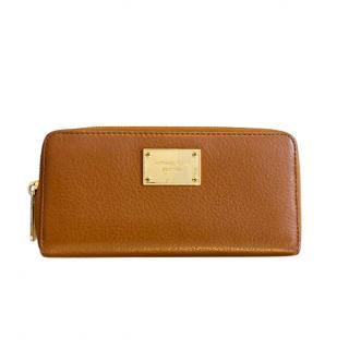 Michael Kors Tan Leather Zip-Around Wallet