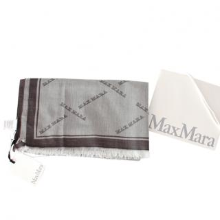 Max Mara Grey Reversible Monogram Shawl
