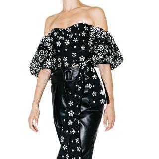 Self Portrait Black & White Deco Sequin Mesh Puff Sleeve Top