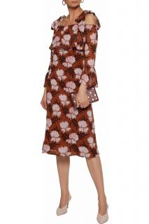 Ganni Monette Georgette Tie Shoulder Dress