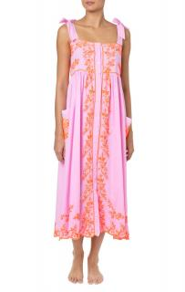 Juliet Dunn Pink Cotton Embroidered Dress