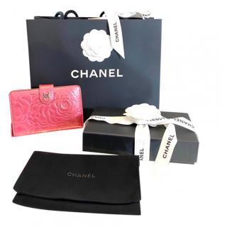 Chanel Pink Camellia Embossed Wallet
