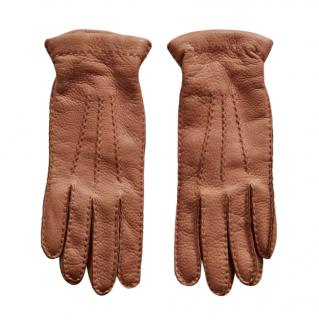 Ralph Lauren Collection Tan Leather Gloves