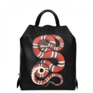 Gucci Black Grained Leather Kingsnake Backpack