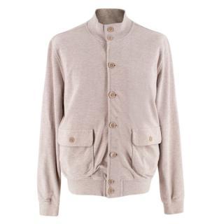 Della Ciana Taupe Cotton Buttoned Bomber Style Jacket