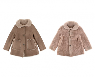 Gucci Kids Taupe Reversible Shearling Buttoned Coat