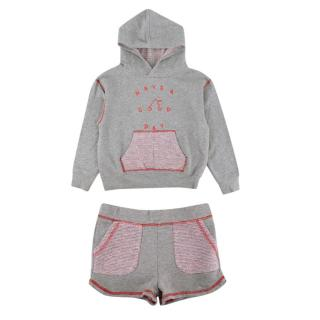 Bonpoint Grey Cotton Tracksuit With Tweed Details