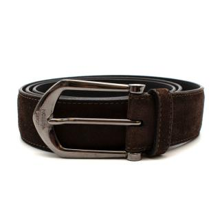 Louis Vuitton Brown Suede Belt with Graphite Buckle