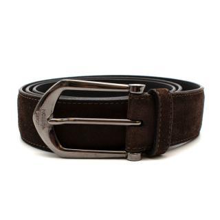 Louis Vuitton Brown Suede Belt with Graphite Buckle