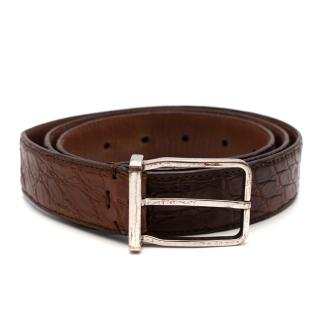 Brunello Cucinelli Brown Crocodile Leather Belt