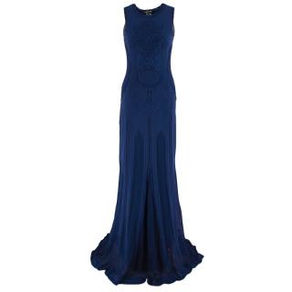 Roberto Cavalli Indigo Knit Embroidered Gown