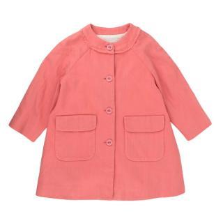 Bonpoint Pink Cotton Crossgrain Buttoned Coat