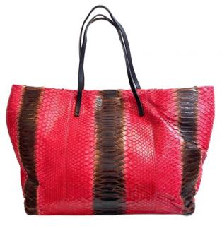 Fendu Red & Brown Python Tote Bag