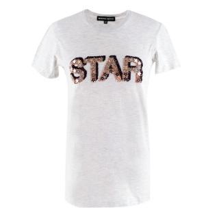 Markus Lupfer Grey Cotton 'Star' Sequin T-Shirt