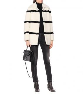 Saint Laurent Beige/Black Striped Shearling Coat