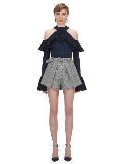 Self Portrait Black & white Check Pleat Shorts