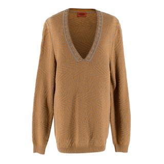 Missoni Orange/Grey Embroidered Knit V-Neck Jumper